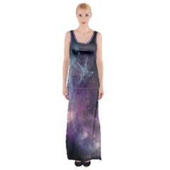 Blue Galaxy Maxi Thigh Split Dress