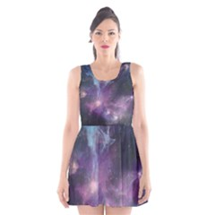 Blue Galaxy Scoop Neck Skater Dress
