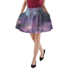Blue Galaxy A Line Pocket Skirt