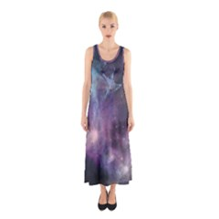 Blue Galaxy Sleeveless Maxi Dress
