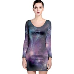 Blue Galaxy Long Sleeve Bodycon Dress by DanaeStudio