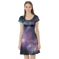 Blue Galaxy Short Sleeve Skater Dress