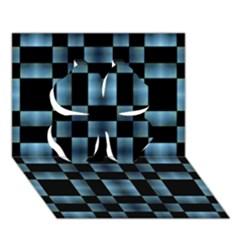 Checkboard Pattern Print Clover 3d Greeting Card (7x5) by dflcprints