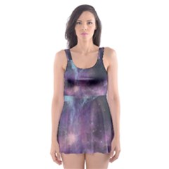 Blue Galaxy Skater Dress Swimsuit