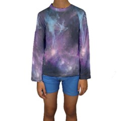 Blue Galaxy Kid s Long Sleeve Swimwear