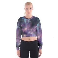 Blue Galaxy Women s Cropped Sweatshirt