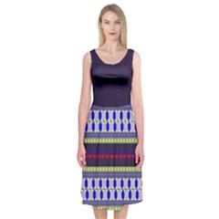 Colorful Retro Geometric Pattern Midi Sleeveless Dress by DanaeStudio