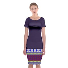Purple Retro Geometric Pattern Classic Short Sleeve Midi Dress