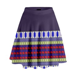 Purple Retro Geometric Pattern High Waist Skirt by DanaeStudio