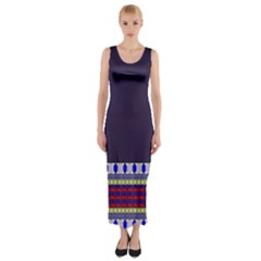 Purple Retro Geometric Pattern Fitted Maxi Dress
