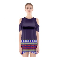 Purple Retro Geometric Pattern Women s Cutout Shoulder One Piece