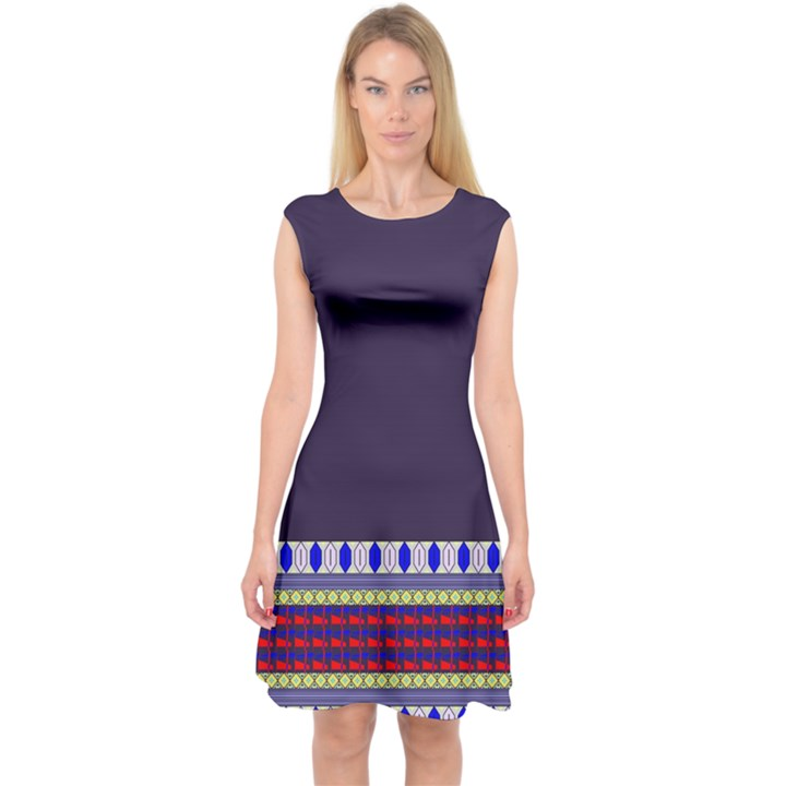 Purple Retro Geometric Pattern Capsleeve Midi Dress