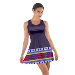 Purple Retro Geometric Pattern Cotton Racerback Dress