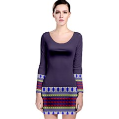 Purple Retro Geometric Pattern Long Sleeve Bodycon Dress