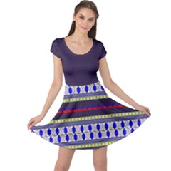 Colorful Retro Geometric Pattern Cap Sleeve Dress by DanaeStudio
