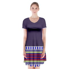 Purple Retro Geometric Pattern Short Sleeve V Neck Flare Dress