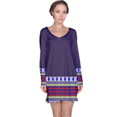 Purple Retro Geometric Pattern Long Sleeve Nightdress by DanaeStudio