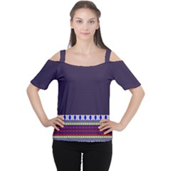 Purple Retro Geometric Pattern Women s Cutout Shoulder Tee by DanaeStudio