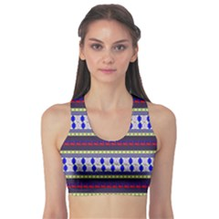 Colorful Retro Geometric Pattern Sports Bra by DanaeStudio