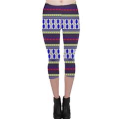 Colorful Retro Geometric Pattern Capri Leggings  by DanaeStudio