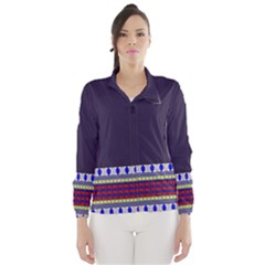 Purple Retro Geometric Pattern Wind Breaker (women)