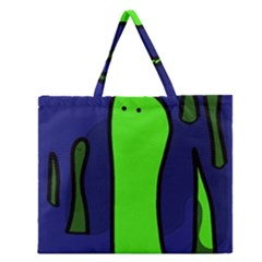 Green Snakes Zipper Large Tote Bag by Valentinaart