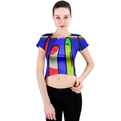 Colorful snakes Crew Neck Crop Top