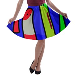 Colorful Snakes A Line Skater Skirt by Valentinaart