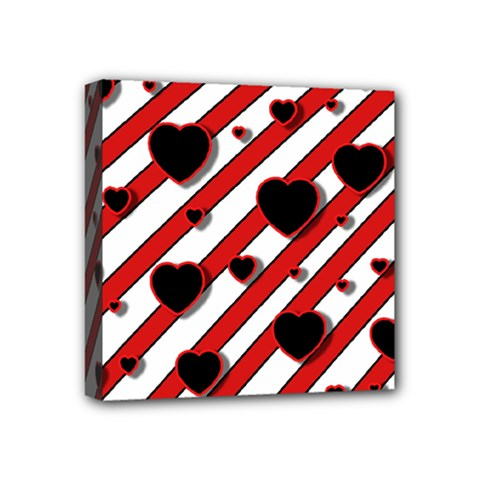 Black And Red Harts Mini Canvas 4  X 4  by Valentinaart