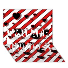 Black And Red Harts You Are Invited 3d Greeting Card (7x5)