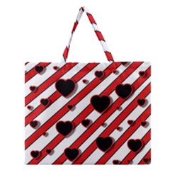 Black And Red Harts Zipper Large Tote Bag by Valentinaart