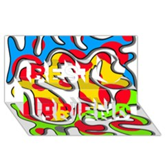 Colorful Graffiti Best Friends 3d Greeting Card (8x4) by Valentinaart