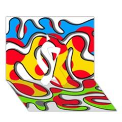 Colorful Graffiti Ribbon 3d Greeting Card (7x5) by Valentinaart