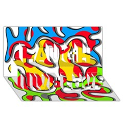 Colorful Graffiti Laugh Live Love 3d Greeting Card (8x4)