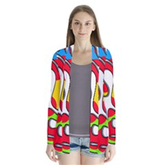 Colorful Graffiti Drape Collar Cardigan by Valentinaart