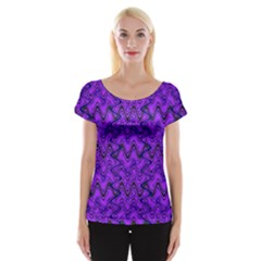 Purple Wavey Squiggles Women s Cap Sleeve Top by BrightVibesDesign