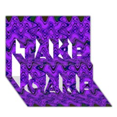 Purple Wavey Squiggles Take Care 3d Greeting Card (7x5) by BrightVibesDesign