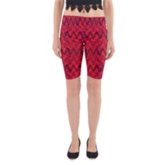 Red Wavey Squiggles Yoga Cropped Leggings