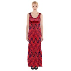 Red Wavey Squiggles Maxi Thigh Split Dress by BrightVibesDesign