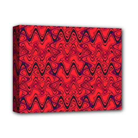 Red Wavey Squiggles Deluxe Canvas 14  X 11  by BrightVibesDesign