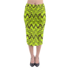 Yellow Wavey Squiggles Midi Pencil Skirt by BrightVibesDesign