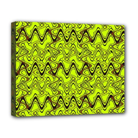 Yellow Wavey Squiggles Deluxe Canvas 20  X 16   by BrightVibesDesign