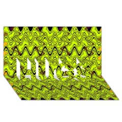 Yellow Wavey Squiggles Hugs 3d Greeting Card (8x4) by BrightVibesDesign