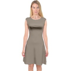 Squirrel Brown Colour Capsleeve Midi Dress by artpics