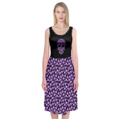 Love And Skulls Purple Midi Sleeveless Dress by Contest1673627
