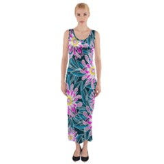 Whimsical Garden Fitted Maxi Dress