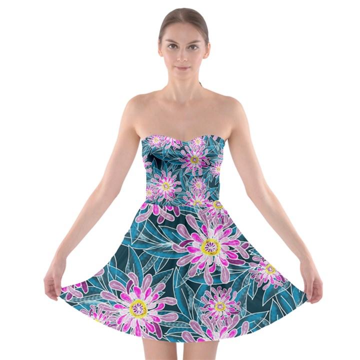 Whimsical Garden Strapless Bra Top Dress