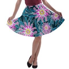 Whimsical Garden A Line Skater Skirt