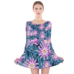 Whimsical Garden Long Sleeve Velvet Skater Dress