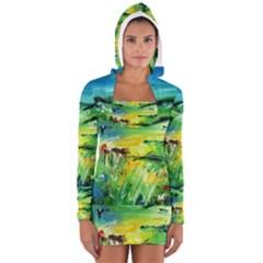 Abstract Landscape Women s Long Sleeve Hooded T Shirt by artistpixi